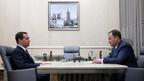 Дмитрий Медведев провёл рабочую встречу с генеральным директором ОАО «Объединенная ракетно-космическая корпорация» Игорем Комаровым