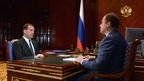 Рабочая встреча Дмитрия Медведева с генеральным директором Объединённой ракетно-космической корпорации Игорем Комаровым