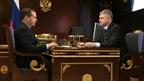 Встреча Дмитрия Медведева с генеральным директором - председателем правления ОАО «Российские железные дороги» Олегом Белозёровым