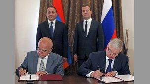 Подписание Соглашения о порядке пребывания граждан России на территории Армении и граждан Армении на территории России