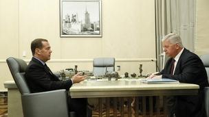 Встреча Дмитрия Медведева с председателем Федерации независимых профсоюзов России Михаилом Шмаковым