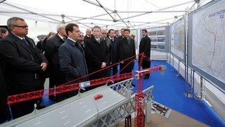 Осмотр нового участка автомагистрали «Западный скоростной диаметр» в Санкт-Петербурге