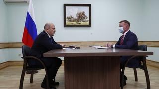 Беседа Михаила Мишустина с губернатором Курской области Романом Старовойтом