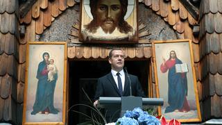 Выступление на мемориальной церемонии у Русской часовни, посвящённой памяти российских войнов, погибших в годы Первой мировой войны