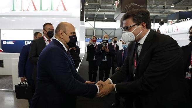 Mikhail Mishustin touring Innoprom 2021. With Italian Minister of Economic Development Giancarlo Giorgetti