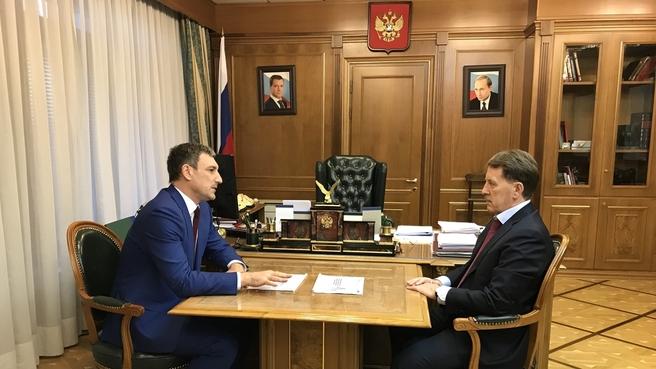 Рабочая встреча Алексея Гордеева с губернатором Амурской области Василием Орловым