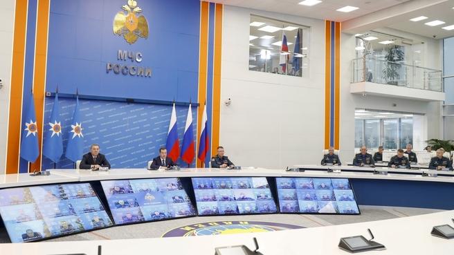 Видеоконференция с руководителями главных управлений МЧС России по регионам