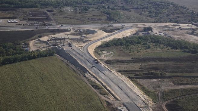 Рабочая поездка Марата Хуснуллина в Ростовскую область. Строительство автомобильной дороги в рамках реконструкции автомобильной дороги М-4 «Дон»