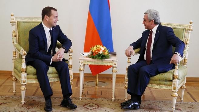 Беседа Дмитрия Медведева с Президентом Республики Армения Сержем Саргсяном