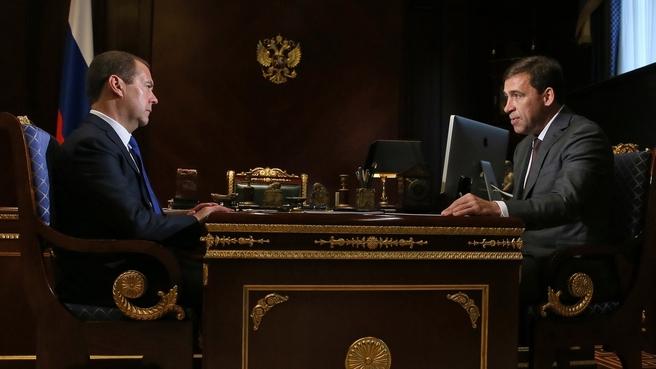 Встреча с временно исполняющим обязанности губернатора Свердловской области Евгением Куйвашевым