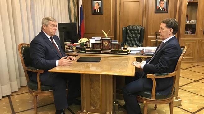 Встреча Алексея Гордеева с губернатором Ростовской области Василием Голубевым