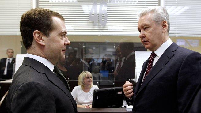 Председатель Правительства Дмитрий Медведев и мэр Москвы Сергей Собянин