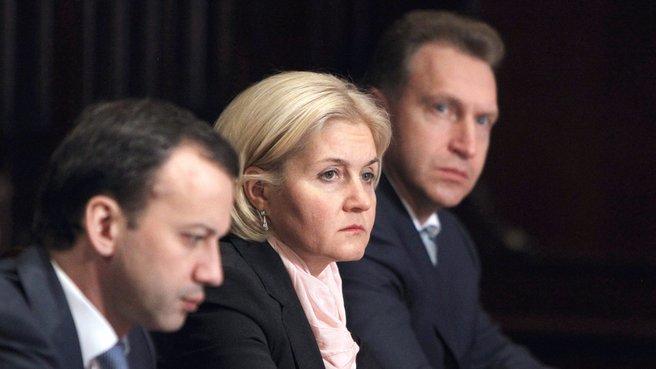 Deputy Prime Minister Arkady Dvorkovich, Deputy Prime Minister Olga Golodets and First Deputy Prime Minister Igor Shuvalov