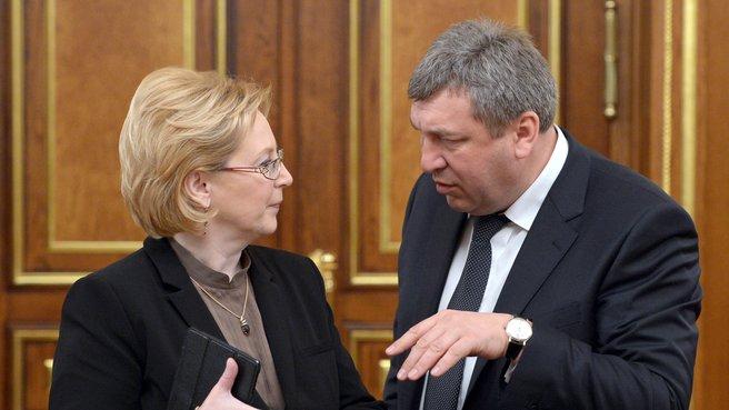 Министр здравоохранения Вероника Скворцова и Министр регионального развития Игорь Слюняев