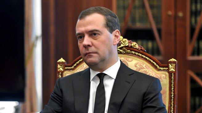 Председатель Правительства Дмитрий Медведев на встрече с Президентом России Владимиром Путиным