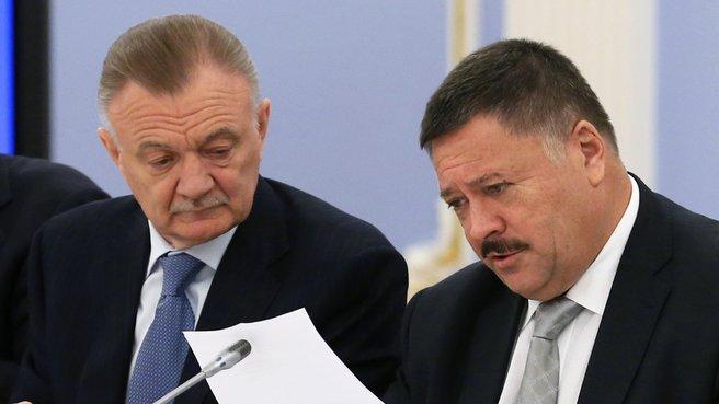 Governor of the Ryazan Region Oleg Kovalyov and Chairman of the State Duma Committee for Health Sergei Kalashnikov