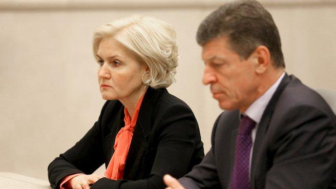 Заместитель Председателя Правительства Ольга Голодец и заместитель Председателя Правительства Дмитрий Козак