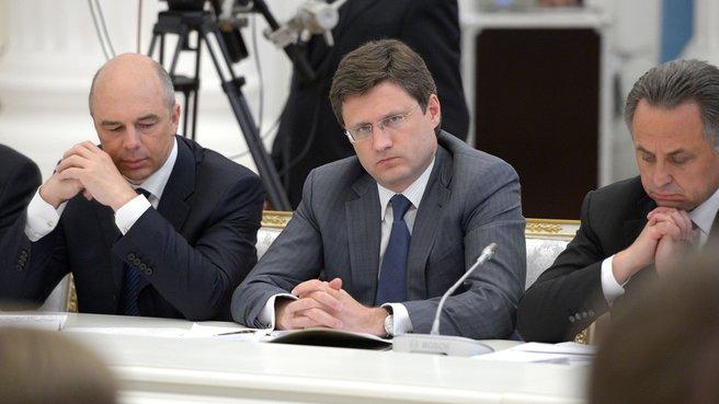 Глава Минфина Антон Силуанов, глава Минэнерго Александр Новак и глава Минспорта Виталий Мутко