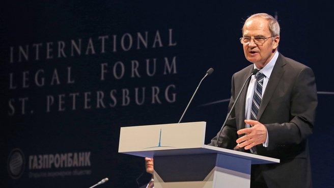 Выступление председателя Конституционного суда Валерия Зорькина на III Петербургском международном юридическом форуме
