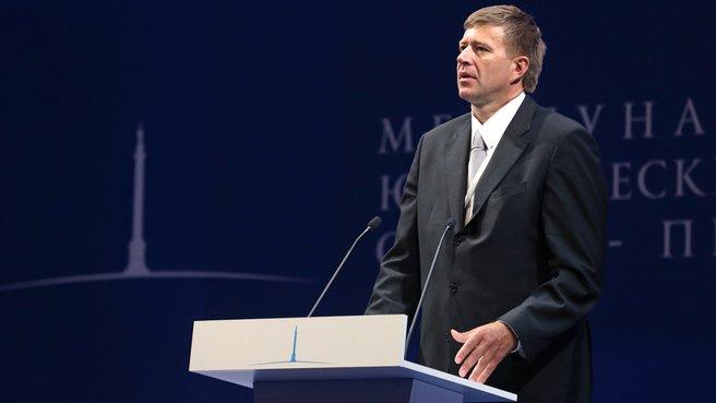 Russian Justice Minister Alexander Konovalov speaks at the Third St Petersburg International Legal Forum