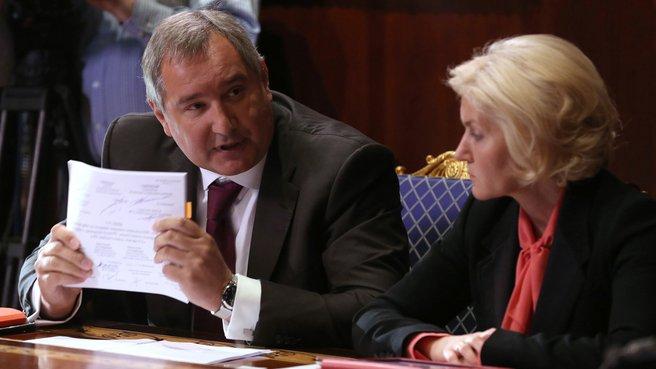 Заместители Председателя Правительства Дмитрий Рогозин и Ольга Голодец