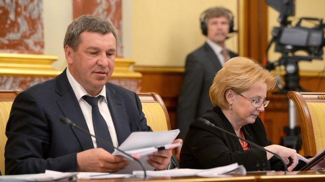 Глава Минрегиона Игорь Слюняев и глава Минздрава Вероника Скворцова