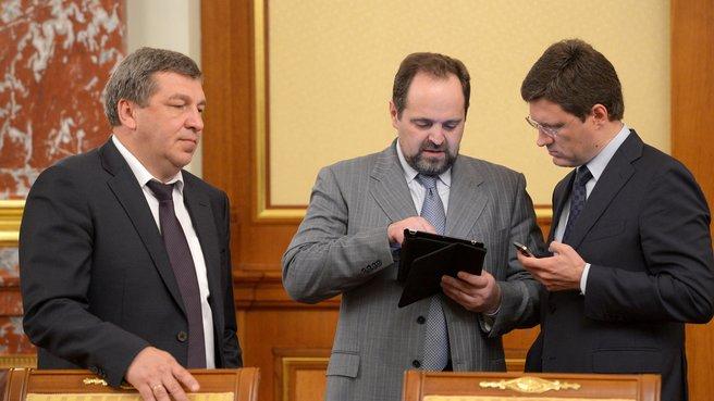 Глава Минрегиона Игорь Слюняев, глава Минприроды Сергей Донской и глава Минэнерго Александр Новак