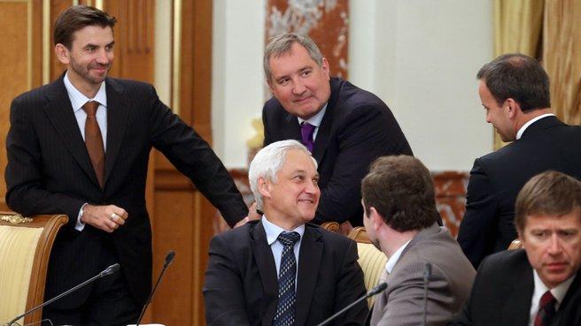 Участники заседания Правительственной комиссии по бюджетным проектировкам на очередной финансовый год и плановый период