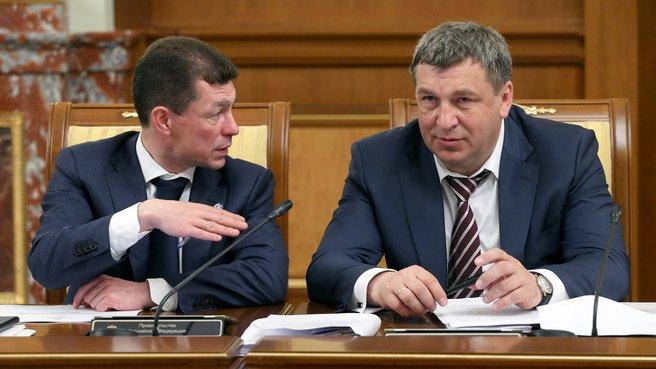 Глава Минтруда Максим Топилин и глава Минрегиона Игорь Слюняев