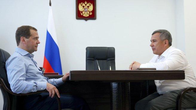 Беседа с президентом Республики Татарстан Рустамом Миннихановым