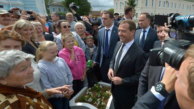 С жителями города Малоярославца
