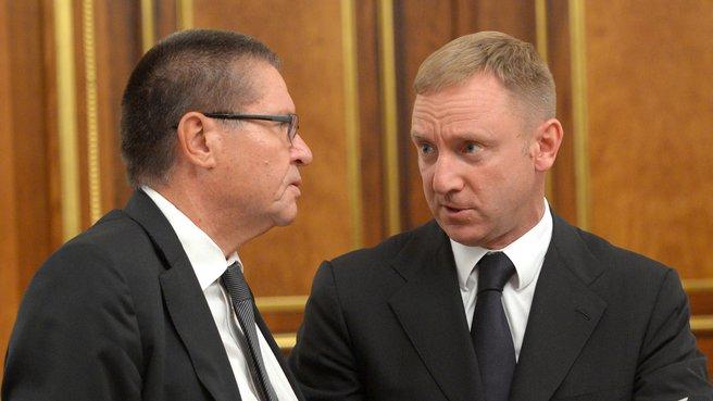 Глава Минэкономразвития Алексей Улюкаев и глава Минобрнауки Дмитрий Ливанов
