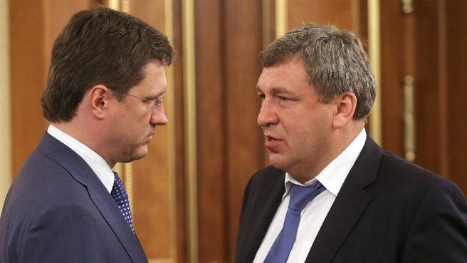 Глава Минэнерго Александр Новак и глава Минрегиона Игорь Слюняев