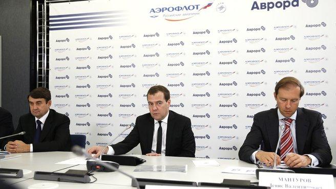 С помощником Президента Игорем Левитиным и главой Минпромторга Денисом Мантуровым на совещании по развитию региональной авиации