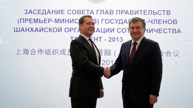 With Prime Minister of Uzbekistan Shavkat Mirziyoyev