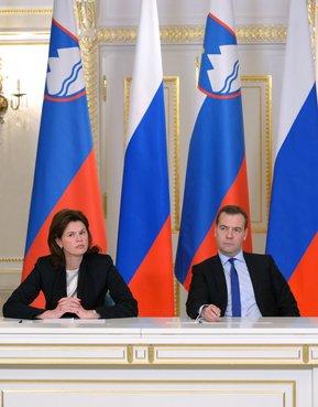Совместная пресс-конференция с Председателем Правительства Республики Словении Аленкой Братушек