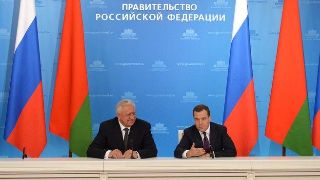 Совместная пресс-конференция с Премьер-министром Белоруссии Михаилом Мясниковичем