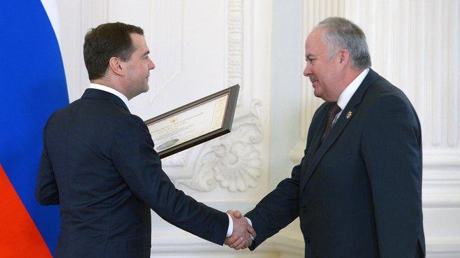 Вручение диплома ll степени городу Кемерово. С главой города Валерием Ермаковым