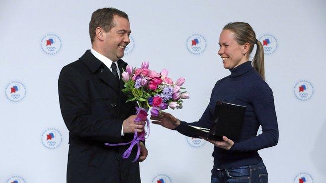 С двукратным бронзовым призёром XXII Олимпийских игр в конькобежном спорте Ольгой Граф