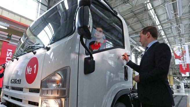Автограф на двери грузового автомобиля Isuzu
