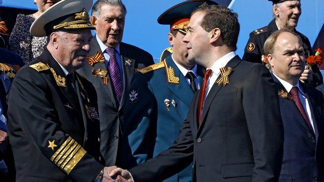 Перед началом военного парада в честь 69-й годовщины Победы в Великой Отечественной войне
