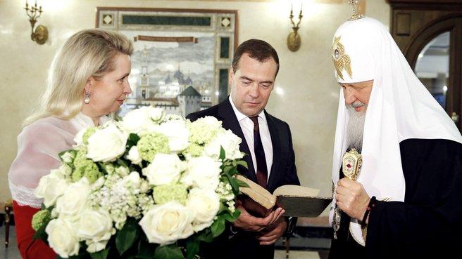 С Патриархом Московским и всея Руси Кириллом и супругой Светланой