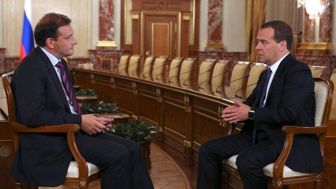 Dmitry Medvedev gave an interview to Sergei Brilev's programme Vesti v Subbotu
