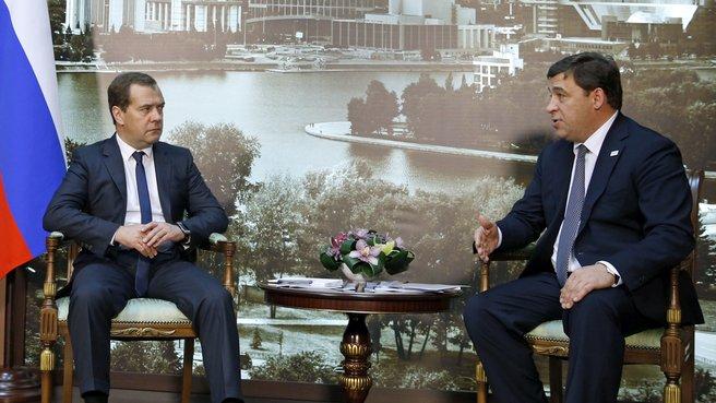 Рабочая встреча с губернатором Свердловской области Евгением Куйвашевым