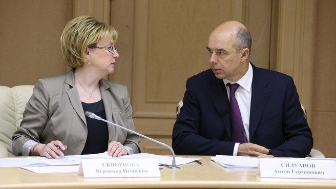 Глава Минздрава Вероника Скворцова и глава Минфина Антон Силуанов