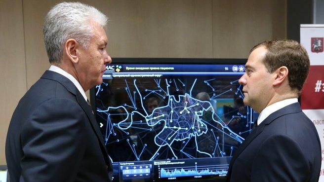 С мэром Москвы Сергеем Собяниным во время посещения Центра организации дорожного движения Правительства Москвы