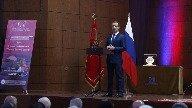 Церемония присуждения Дмитрию Медведеву степени почетного доктора Университета Мухаммеда V