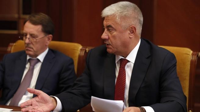 Доклад Владимира Колокольцева на совещании об исполнении поручений Президента и Правительства России
