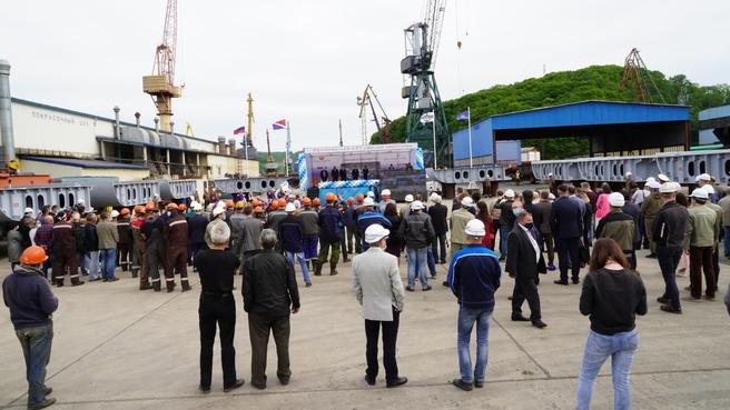 Церемония начала строительства серии судов-краболовов на Дальнем Востоке