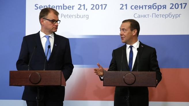 Пресс-конференция Дмитрия Медведева и Премьер-министра Финляндии Юхи Сипили